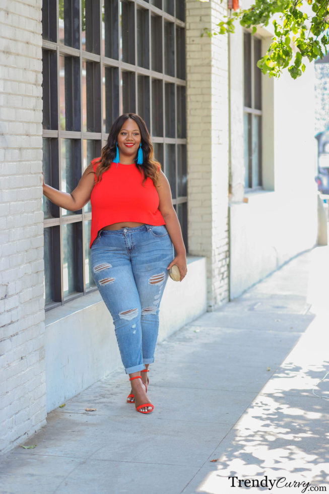Rachel Roy Orange Crop Top