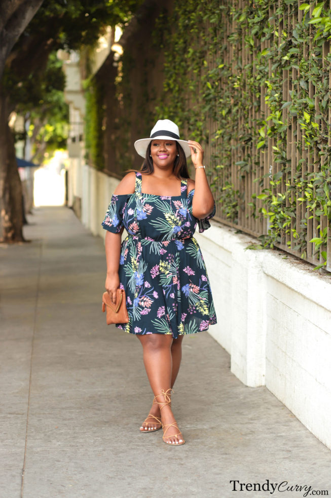 City Chic Plus Size Printed Cold-Shoulder Dress