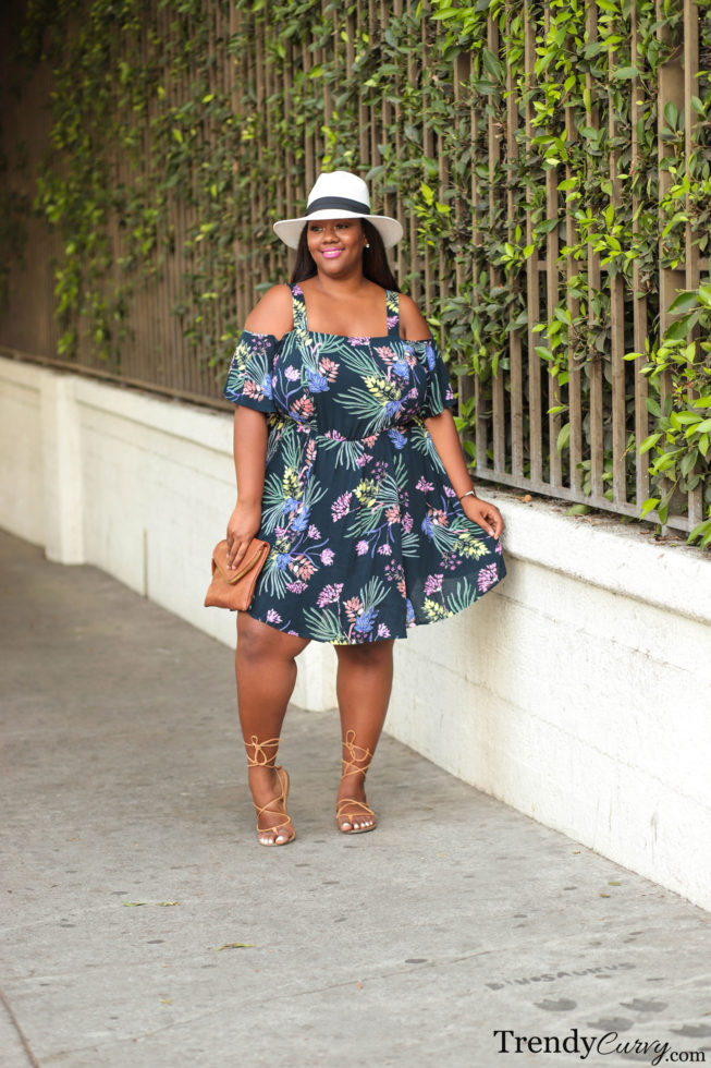 Tropical Print Dress Fedora Outfit