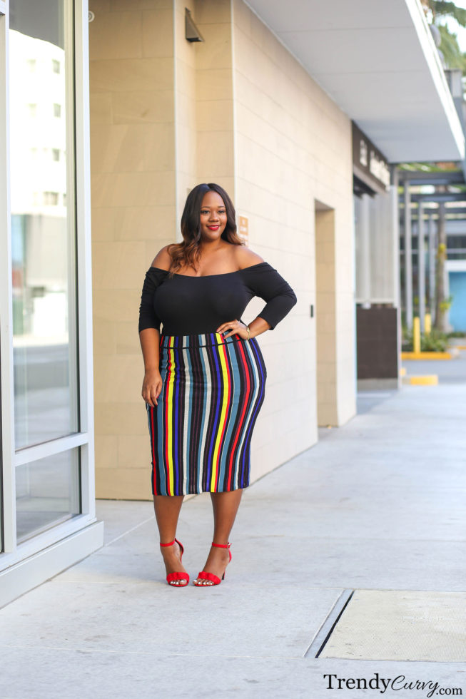 Plus Size Striped Skirt Outfit