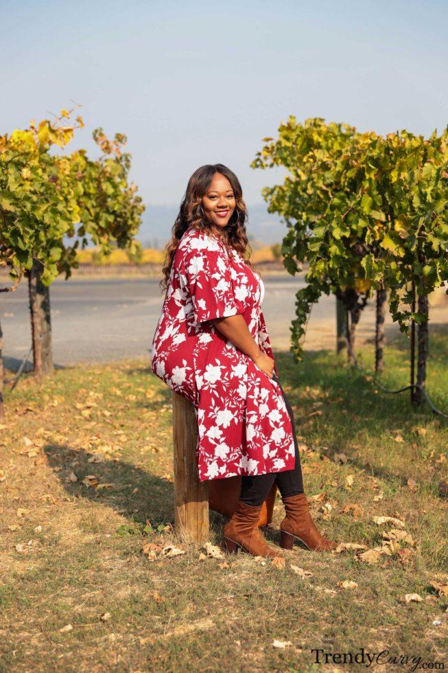 Fall Printed Kimono Outfit
